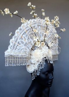 Fan and Flower Headdress by MissGDesignsShop on Etsy, $425.00
