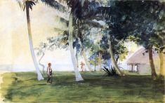 The Athenaeum - FARGE, John La American Tonalist (1835-1910)_At Dawn, In Front of Our House at vaiala, Upolu, Samoa - 1891