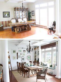 Salle à manger avec des chaises tout simples en bois et un banc installé en dessous de la fenêtre