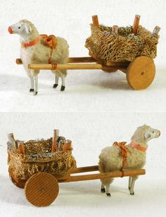 Early wooly lamb pulling luffa cart. - good idea to add to nativity display! Make the cart for the wool lamb!