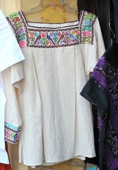 Mexican Blouse Oaxaca    Seen in Oaxaca -- a pretty embroidered blouse; looks like it was made in the state of Puebla
