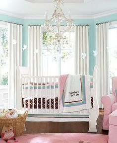 aqua and pink baby nursery #decor #infant #bedding