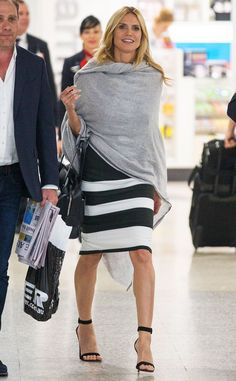 Heidi Klum from The Big Picture: Today's Hot Photos - soft natural kibbe - Uk Fashion, Fashion Models, High Fashion, Heidi Klum Legs, Model Street Style, Black White Fashion, Best Model, Celebrity Look, Airport Style