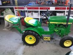 "My 1967 John Deere Model 112 garden tractor with HH100 Tecumseh Engine and added ""buddy"" seat."