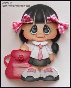 School Girl Black Hair Premade Paper Piecing Embellishment Die Cut by Babs #school