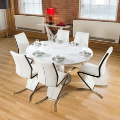 Large Round White Gloss Dining Table And 8 Black Chairs Truly Stunning Avant Guard Design Studios CT3706 High