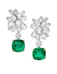 Bulgari emerald and diamond earrings