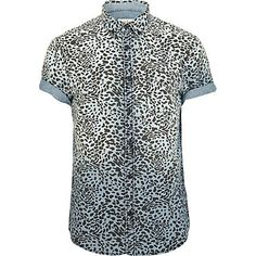 Blue leopard print short sleeved denim shirt - short sleeve shirts - shirts - men