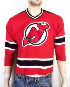 New Jersey Devils NHL Boys Girls Youth Short Sleeve V-Neck Knit Shirt Red