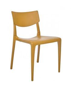 Silla 'Town' de polipropileno en color mostaza. Perfecta para interior y exterior, muy resistente y fácil de limpiar / Muebles D Terraza