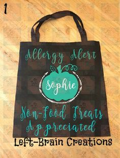 Allergy Alert Treat Bags, Teal Pumpkin Project, Don't feed me, Allergic to nuts… Holidays Halloween, Halloween Treats, Happy Halloween, Halloween Party, Halloween Costumes, Sesame Allergy, Peanut Allergy, Holiday Treats, Holiday Gifts