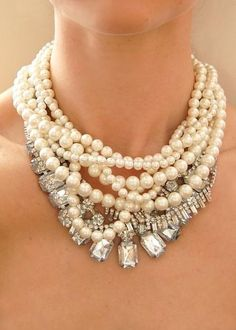 pearls and diamond necklace