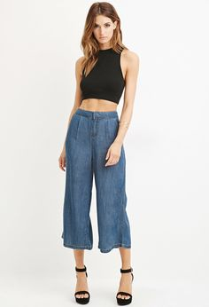 Life in Progress Chambray Culottes | Forever 21 - 2000180824