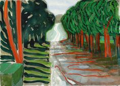 Woldgate with Red Trees, 2004, David Hockney, watercolour and gouache on paper, 29.5 x 41.5 in., UK