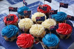 Australia Day cupcakes Inspired by Northland customer Vicki McKenzie Cup Cakes, Cupcake Cakes, Australian Party, Australia Day Celebrations, Aussie Food, Anzac Day, Good Ol, Muffins, Food And Drink