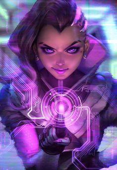 Sombra (Overwatch),Overwatch,Blizzard,Blizzard Entertainment,фэндомы,Overwatch art,artgerm,artist