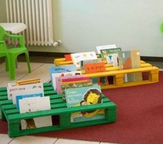 A lot of people are getting aware of pallet wood projects nowadays. You can find the instructions on internet regarding any pallet DIY projects which guides you Used Pallets, Wooden Pallets, Painted Pallets, 1001 Pallets, Pallet Wood, Outdoor Classroom, Classroom Decor, Book Racks For Kids, Book Area