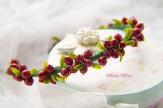 Crown with red berries Cold porcelain Headband от SweetRose68