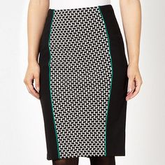 This jersey pencil skirt from The Collection comes in black with a textured monochrome panel and green piped trims. #fashion #socialbliss