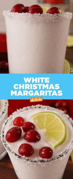 You'll be dreaming of these White Christmas Margaritas all year long. #recipes #easyrecipe #alcohol #christmas #margaritas #tequila #Cocktail