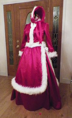 Reserved for Tom.... Dress costume worn in White Christmas movie....as discussed in recent convos. Dress will be made from rich red satin,with faux white mink fur. Dress will be fully lined, and built over a round hoop cage. A red petticoat crinoline net will be made to wear over the hoop cage, and under the skirts to add fluff. Costume is an ensemble, and includes the fitted princess line jacket with capelet,overskirt,underskirt,hoop cage,red petticoat,fur muff, and bonnet to match. Faux…