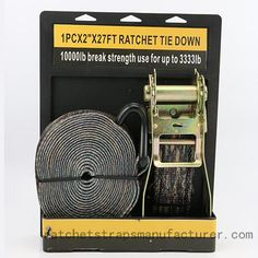 WDCS1021001 1PC×2inch×27FT Ratchet Tie Down with Quality Packaging