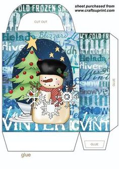 Let it snow snowman gift bag,you will need to print 2 sheets to make gift bag