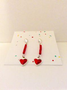 red heart jewelry hearts earrings ooak gift by JeriAielloartstore