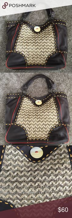 New Kate Landry Large Handbag Brown Straw Purse New without tags never used.  Combination of straw and leather.  13 inches long, 18 inches wide.  Straps are 15 inches. Kate Landry Bags Shoulder Bags