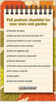 If you haven't already, make sure to prepare your lawn and garden for frost. http://www.menards.com/main/c-19113.htm?utm_source=pinterest&utm_medium=social&utm_campaign=gardencenter&utm_content=prepare-for-frost&cm_mmc=pinterest-_-social-_-gardencenter-_-prepare-for-frost