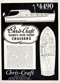 1936 Ad Vintage Chris-Craft 35 Foot Yacht Cruiser Interior Boat Plan Layout YYM3
