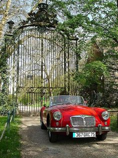 Tall iron gates behind sweet red sports car