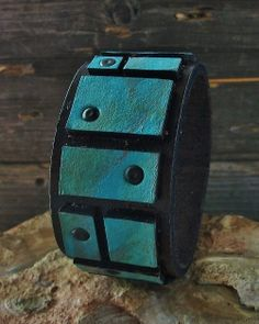 Hand painted leather cuff bracelet from KellyCo Creative Arts