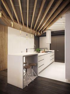 Cucina moderna con illuminazione retro e vintage in appartamento ...