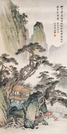 马骀在画集 - 酒鬼鼠 - 酒鬼鼠 Asian Landscape, Chinese Landscape Painting, Landscape Art, Landscape Paintings, Asian Artwork, Japanese Artwork, Japanese Painting, Japon Illustration, China Art