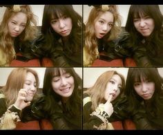 Taeyeon and Tiffany make cute faces for the camera