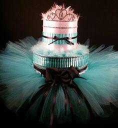 2 Tier Teal & White DIAPER CAKE w/ silver tiara | teal tutu skirt |new | Tiersofjoy -  on ArtFire