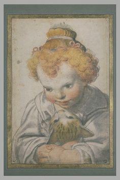 Inventaire du département des Arts graphiques - Enfant, vu en buste, tenant un chat entre ses bras - CESARI D'ARPINO Giuseppe