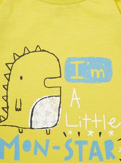 This cute top will make a great addition to a boy's wardrobe. In yellow, it features a playful printed design with long sleeves. Boys yellow print top Long sleeves Monster print Keep away from fire Lettering Design, Hand Lettering, Monster Mash, Children's Picture Books, Yellow Print, Little Monsters, Children's Book Illustration, Baby Prints, Baby Patterns
