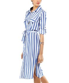 This Blue & White Stripe Pocket Tie-Waist Shirt Dress is perfect! #zulilyfinds