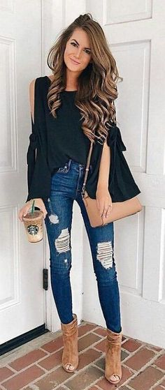 #fall #outfits Black Cold Shoulder Top + Ripped Skinny Jeans