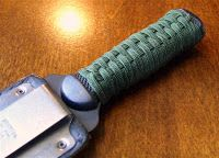 I used about 7 or 8 feet of gutted paracord for this grip/handle wrap on a boot knife. I was following this 'Traditional grip wrapping on Ch...