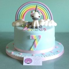 Happy 7th Birthday Darcey. Cute #unicorn cake #sweetcheekscupcakesessex #essex #essexcakes #cakes #instacake #birthday #rainbow