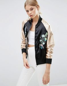 Image 1 of Brave Soul Embroidered Bomber Jacket