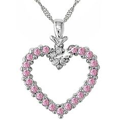 pink diamond necklaces | 14k Gold Pink Sapphire and Diamond Necklace