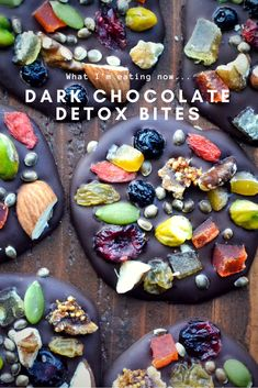 Healthy Dark Chocolate Detox Bites are anti-oxidant rich dark chocolates topped with fruits, nuts, and seeds ~ they're just as pretty as they are delicious!