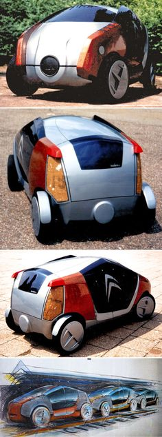 Citroën Frédéric Concept, 1995. A student project by Markus Haub at the University of Applied Sciences in Pforzheim. The electric minivan prototype was designed for car-sharing and offered space for 5-6 passengers. The bodywork was made from flax and other renewable raw materials. In order to cover longer distances, several vehicles could be coupled together to reduce energy consumption. source