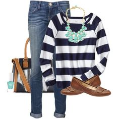 A fashion look from December 2013 featuring blue sweater, skinny jeans and tan shoes. Browse and shop related looks.