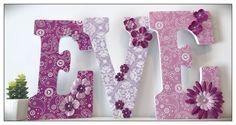 Chic Nursery Letters. Vintage theme. Damask. Pink and Purple. Girls Nursery Letters. Nursery decor. Name letters. Flowers. Pink. Nursery. Ba