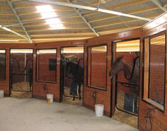 """Round stable with horse boxes and a central storage and work room. Would allow large paddocks out of the stalls and still have central hub for barn activities. I would dub this barn """"The horses of the round table/stable"""" lol"""